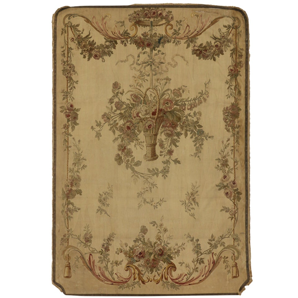 Antique French Aubusson Silk Tapestry with Rococo Style, Savonnerie Wall Hanging