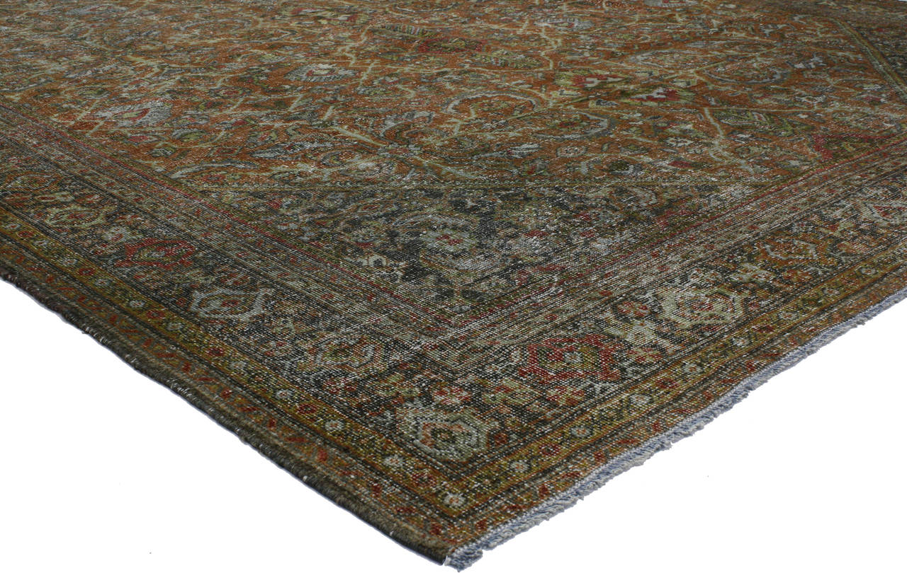 Distressed Vintage Persian Mahal Area Rug With Modern