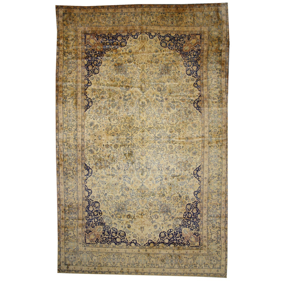Antique Persian Kerman Room Size Rug with Hollywood Regency Style
