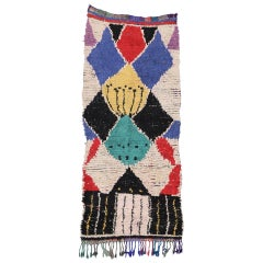 Vintage Berber Moroccan Shag Hallway Runner with Post-Modern and Tribal Style
