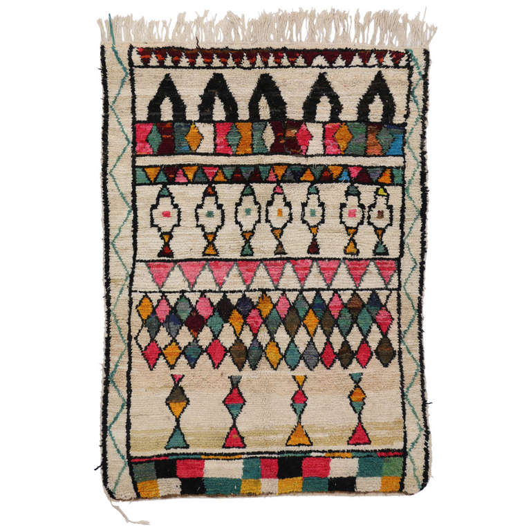 Bohemian Style Moroccan Azilal Rug Berber With A Pop Of Color For
