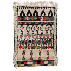 Mid-Century Mordern Berber Moroccan Rug with Colorful Bohemian Style