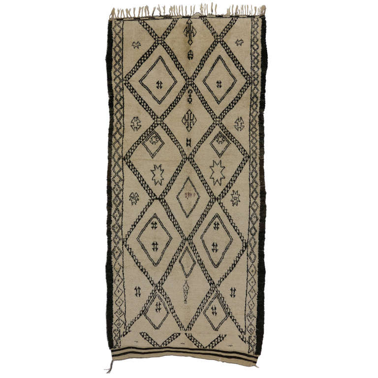 Mid-Century Modern Beni Ourain Moroccan Rug with Tribal Symbols For Sale