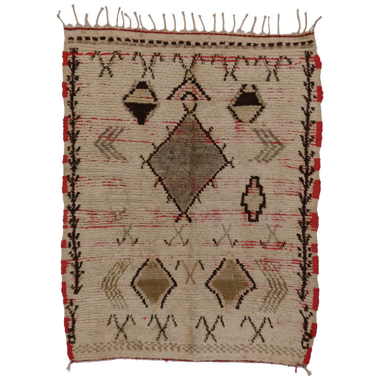 Mid Century Modern Style Red Berber Moroccan Rug With: Mid-Century Modern Berber Moroccan Rug With Tribal Designs