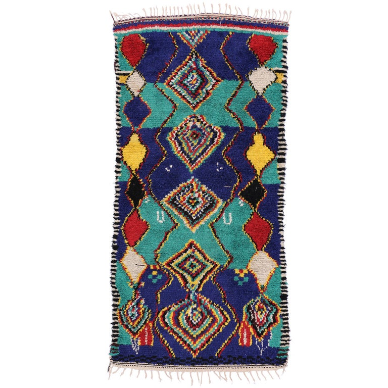 Contemporary Berber Moroccan Rug with Post-Modern Bauhaus Style For Sale