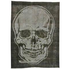 "Vintage Overdyed Persian Tabriz Rug with Skull, 09'00"" x 12'01"""