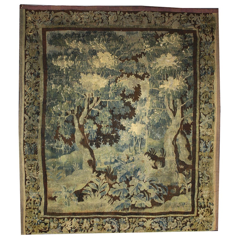 Mid-18th Century Louis XIV Style Antique French Aubusson Verdure Tapestry For Sale
