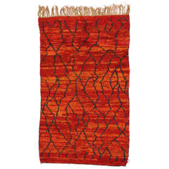 Mid-Century Modern Moroccan Rug with Red and Orange Abstract Design