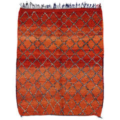 Mid-Century Modern Berber Moroccan Rug with Lattice Design