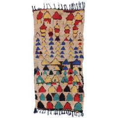 Tribal Style Vintage Moroccan Azilal Runner, Berber Moroccan Shag Hallway Runner