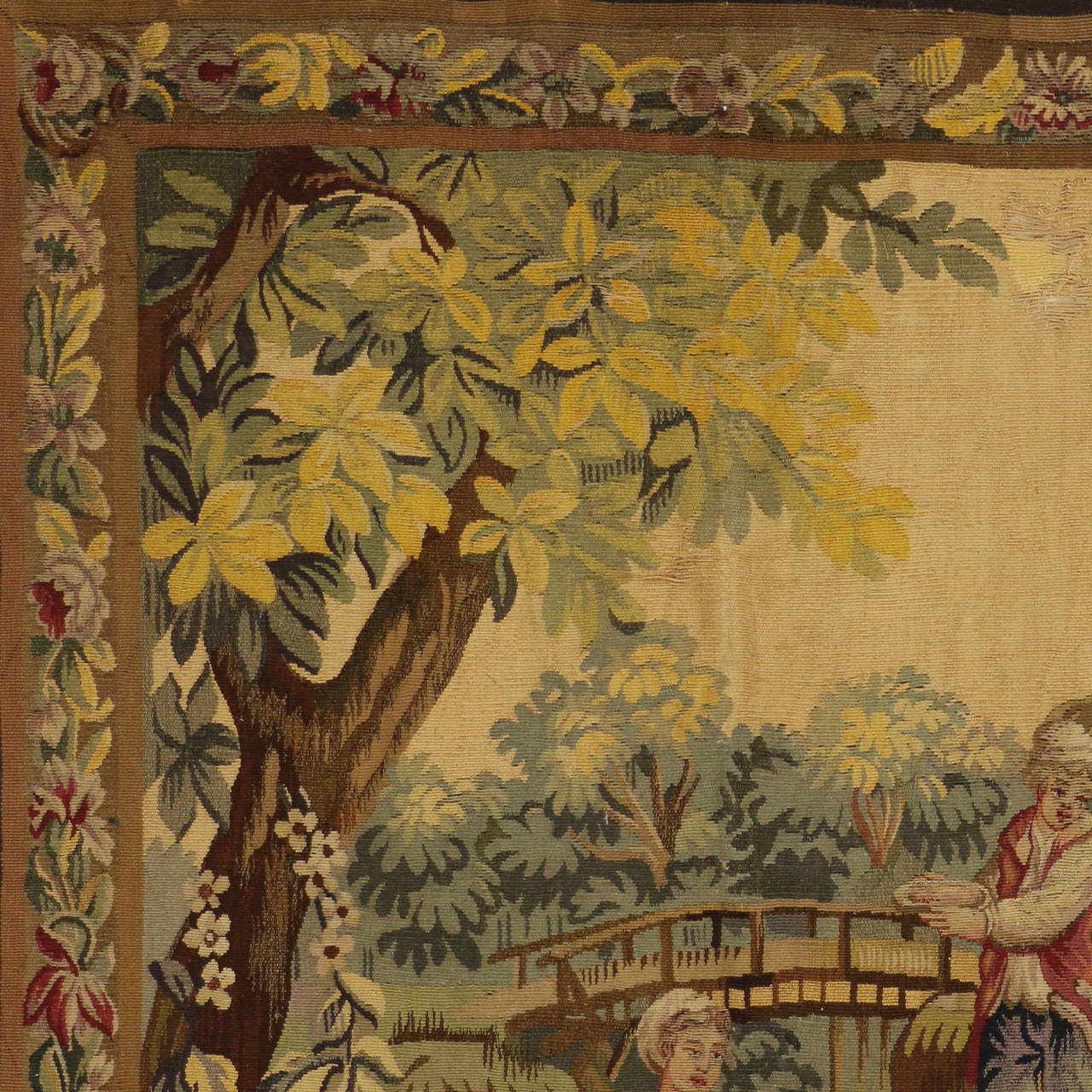 19th Century Antique French Rococo Tapestry Inspired by Francois Boucher, Country Romance For Sale