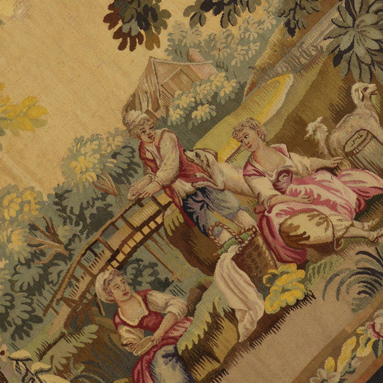 Antique French Rococo Tapestry Inspired by Francois Boucher, Country Romance In Good Condition For Sale In Dallas, TX