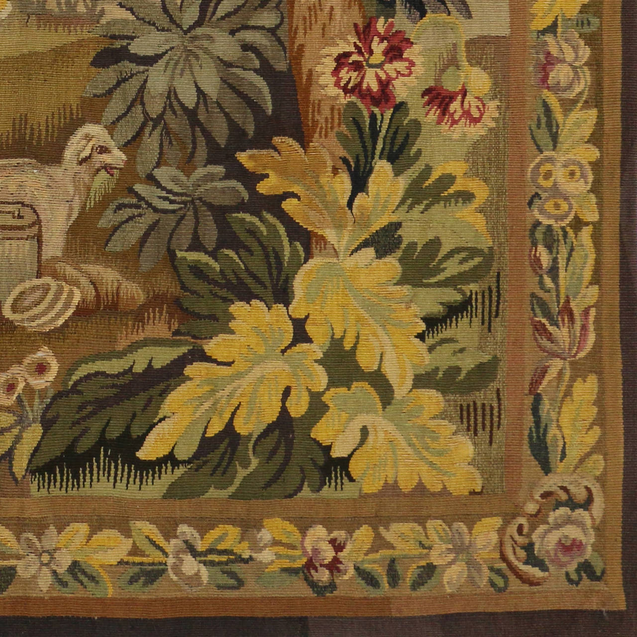 Wool Antique French Rococo Tapestry Inspired by Francois Boucher, Country Romance For Sale