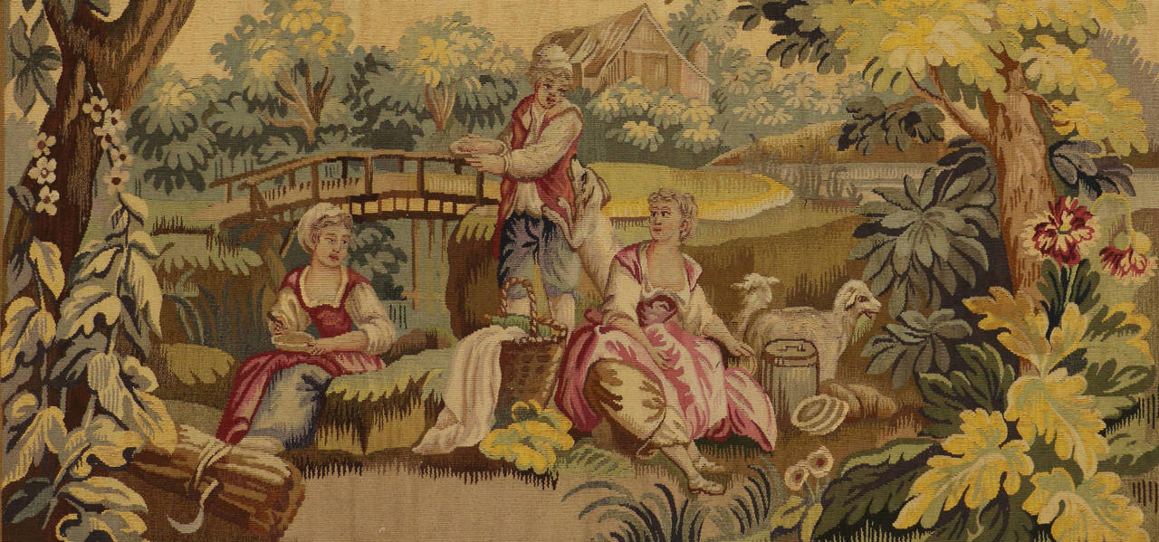 Antique French Rococo Tapestry Inspired by Francois Boucher, Country Romance For Sale 1