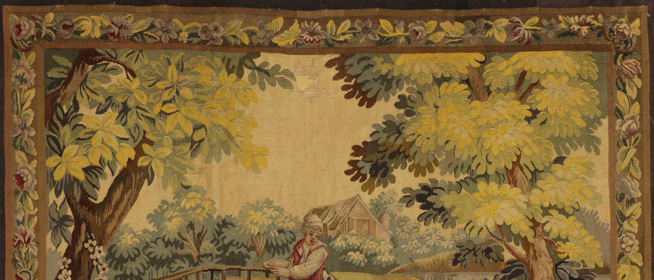 Antique French Rococo Tapestry Inspired by Francois Boucher, Country Romance For Sale 2