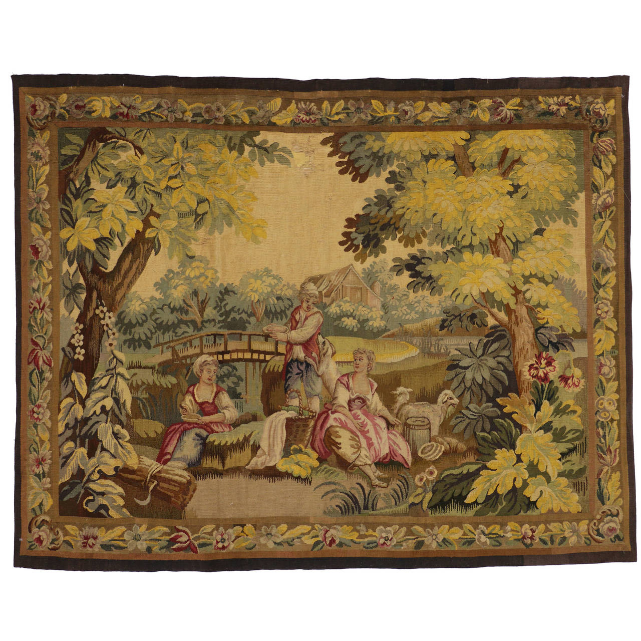Late 19th Century Antique Tapestry with Old