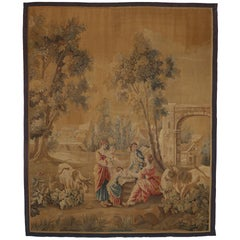 Antique French Aubusson Noble Pastorale Tapestry Inspired by Francois Boucher