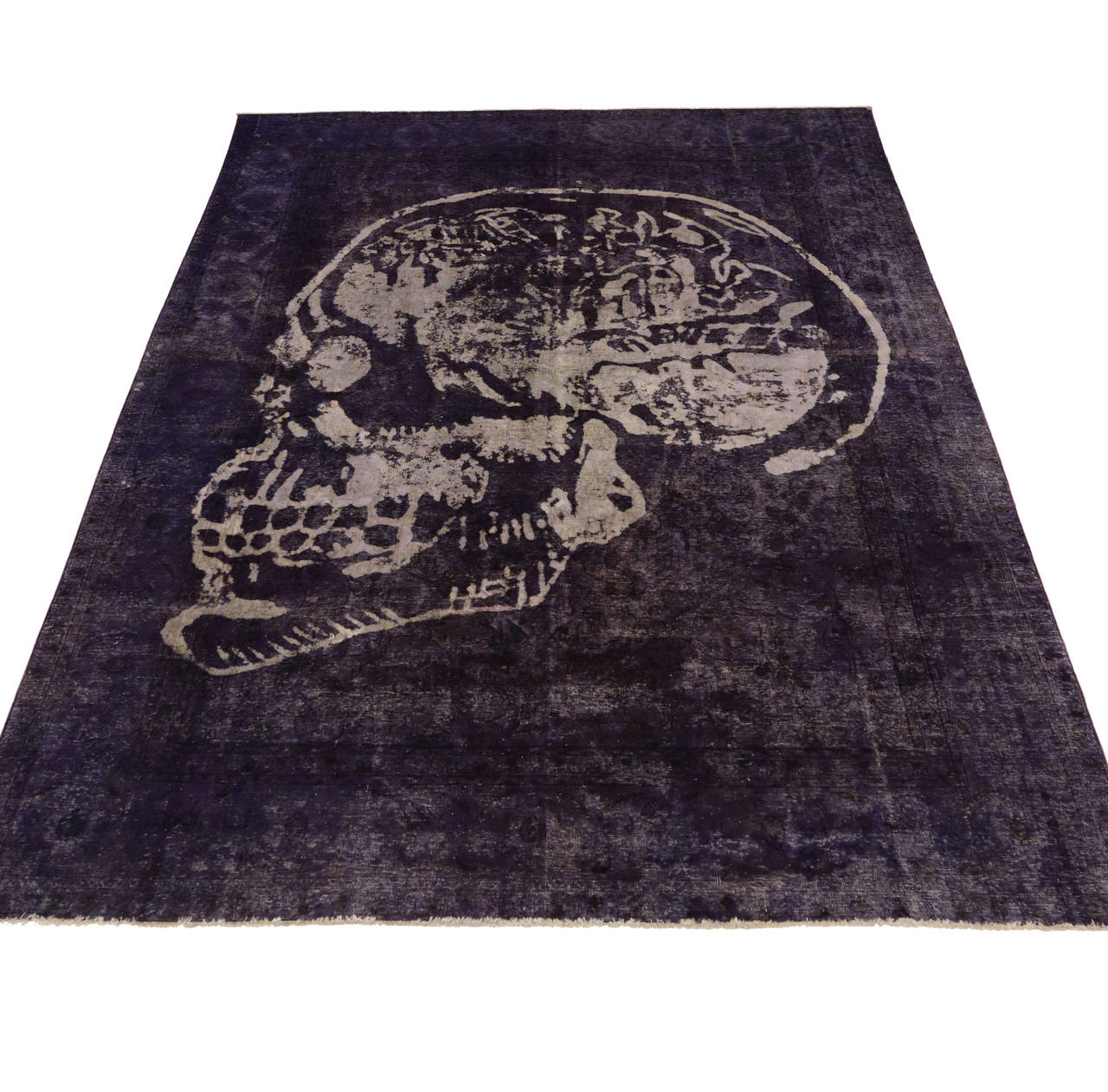 Vintage Persian Tabriz Rug Overdyed With Skull Design At