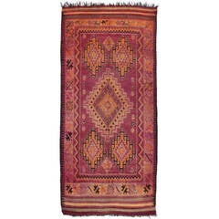 Mid-Century Modern Berber Moroccan Rug with Tribal Design