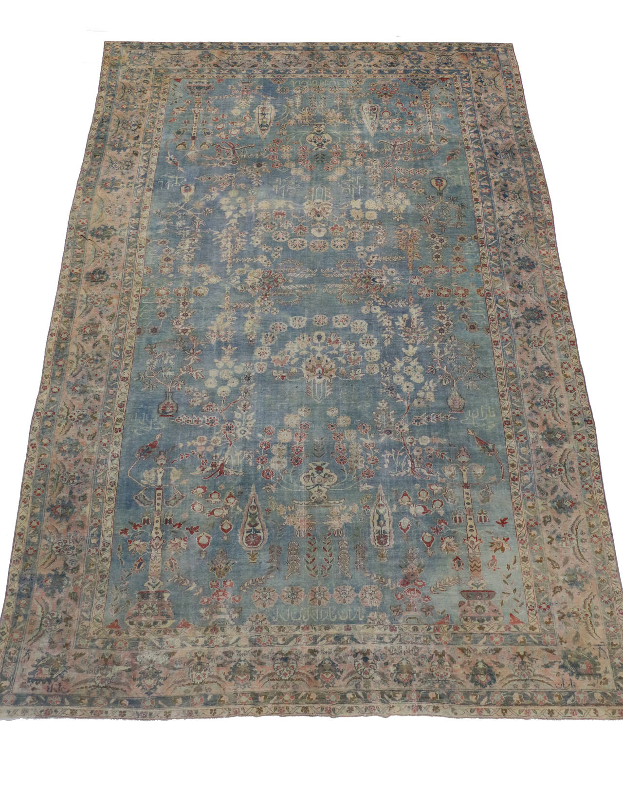 Light Blue Antique Persian Kerman Kirman Distressed Rug