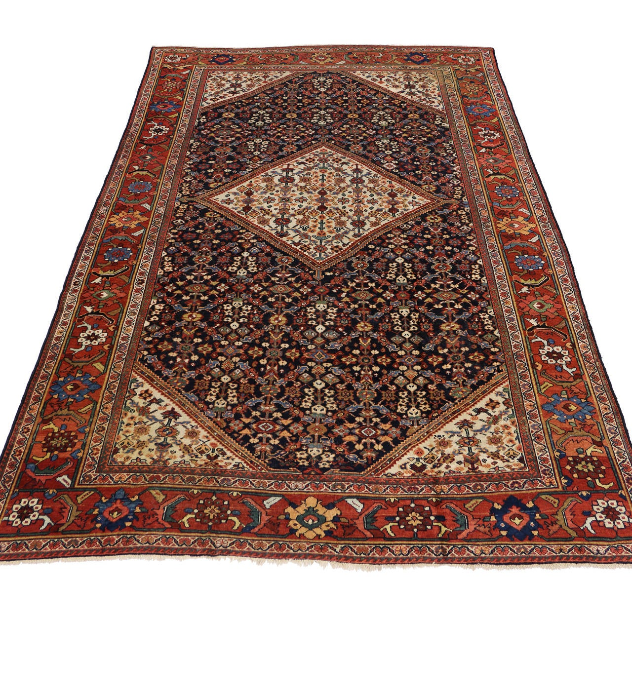 Modern Antique Persian Mahal Area Rug With Transitional