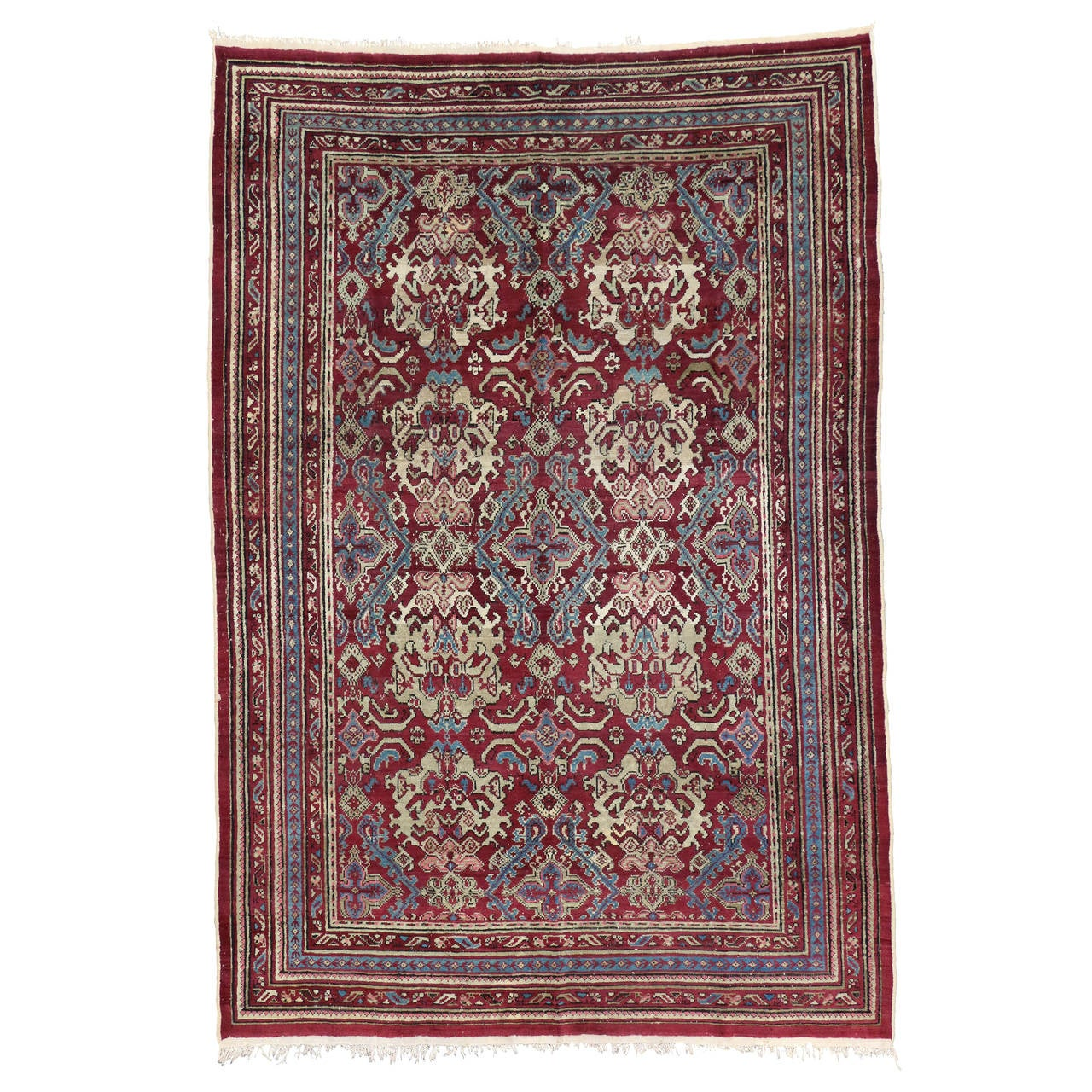 Deep Burgundy Indian Agra Rug For Sale At 1stdibs: 19th Century Antique Indian Agra Rug With Modern Design