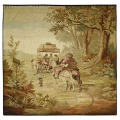 Late 19th Century Antique French Pastoral Tapestry Route de Limoges Louis XV Art