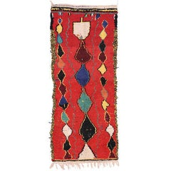 Contemporary Berber Moroccan Rug with Tribal Style, Red Shag Hallway Runner