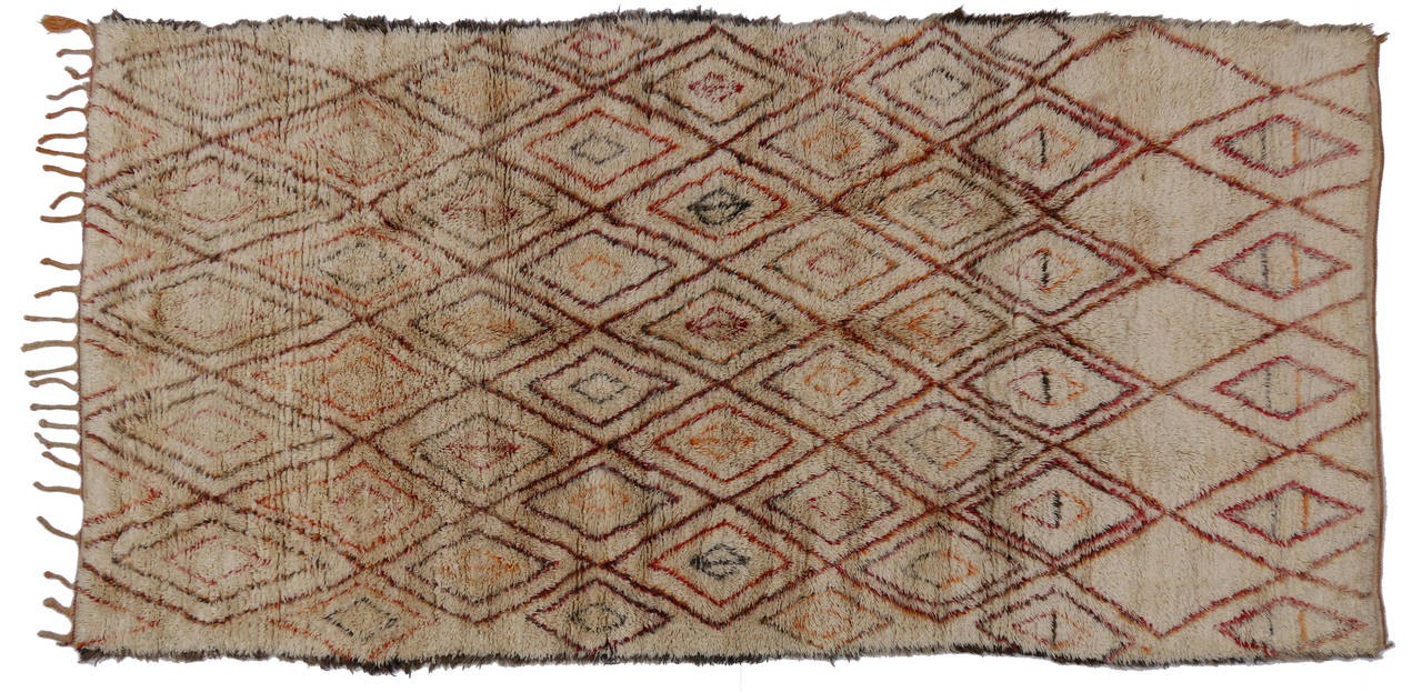 Mid-Century Modern Beni Ourain Moroccan Rug with Tribal Designs 2
