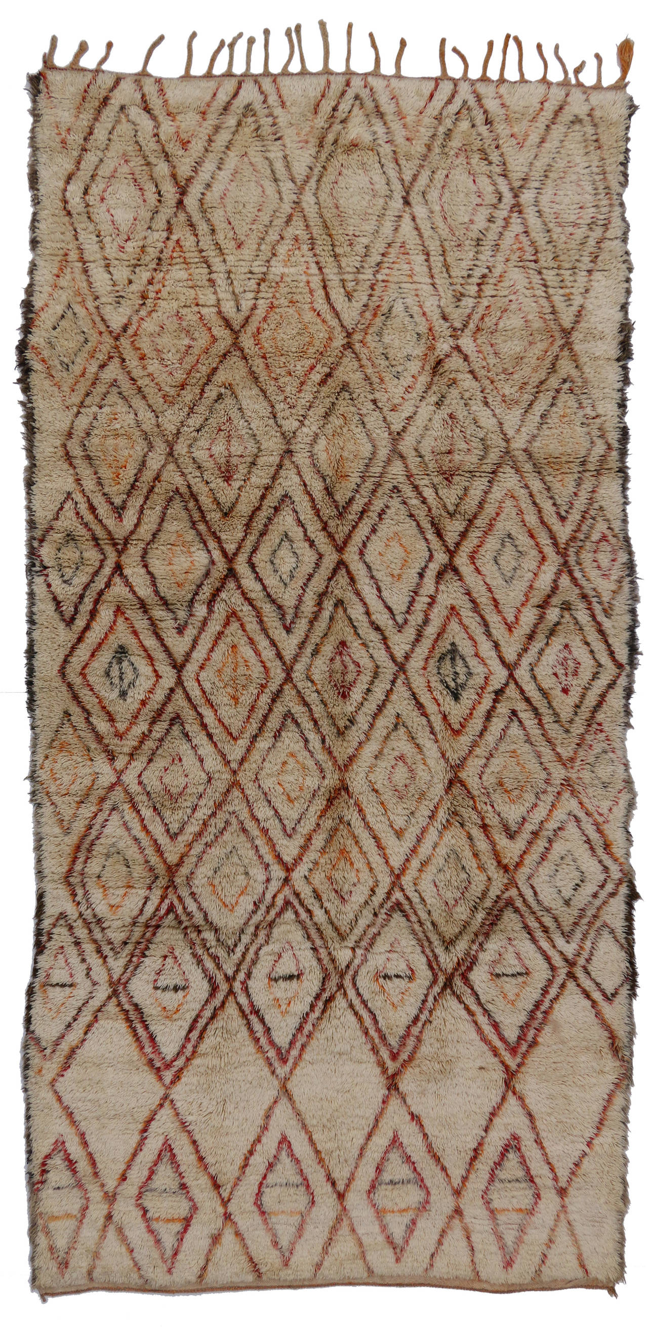 Mid-Century Modern Beni Ourain Moroccan Rug with Tribal Designs 3