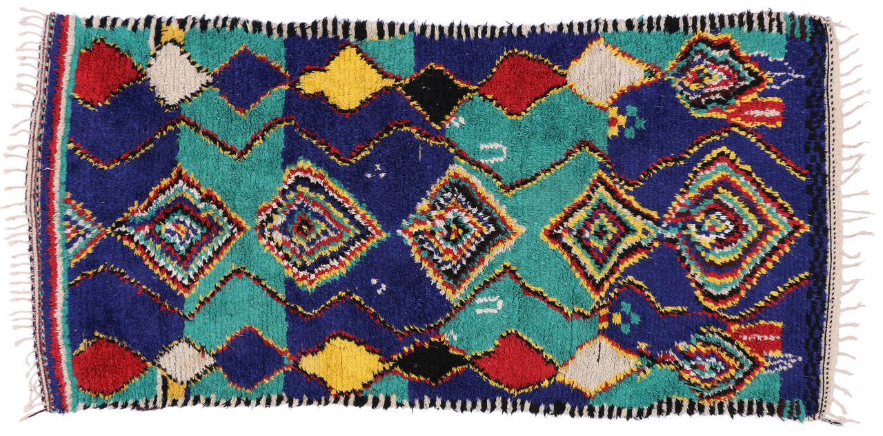 Contemporary Berber Moroccan Rug with Post-Modern Bauhaus Style For Sale 1