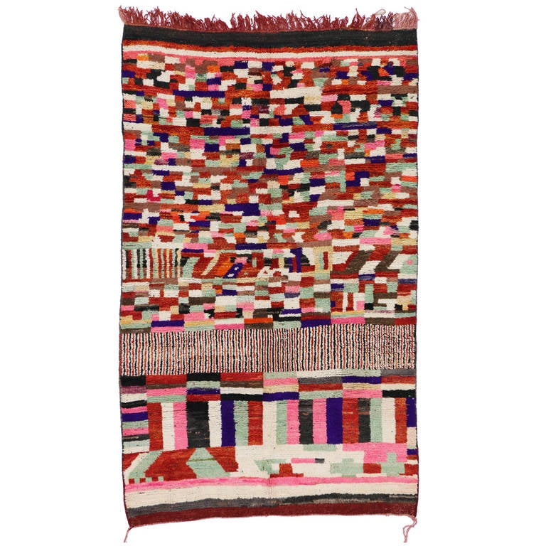 Mid Century Modern Berber Moroccan Rug With Abstract Design For