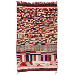 Berber Moroccan Rehamna Rug with Bohemian Abstract Expressionist Style