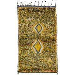 Mid-Century Modern Berber Moroccan Sunshine Yellow Rug, Moroccan Shag Accent Rug
