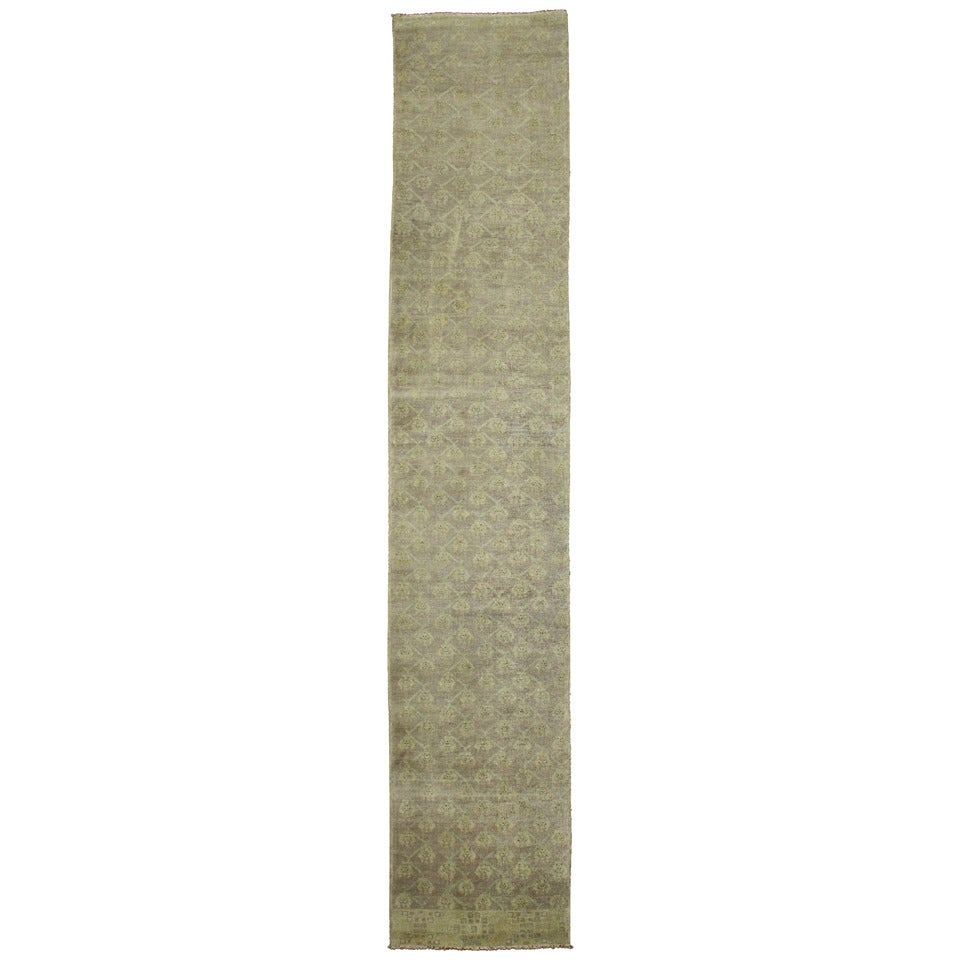 Vintage Turkish Oushak Runner with French Country Cottage Style