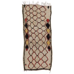 Vintage Berber Moroccan Azilal Rug Runner with Abstract Tribal Style