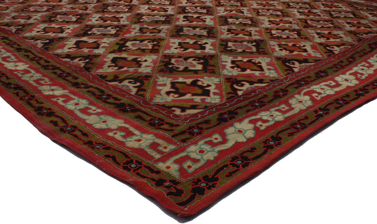 71812 Antique Afghanistan Area Rug with Jacobean Style, Antique Wool Felted Rug. Add sophistication to your room with this antique wool and felt rug. Designed with an all-over repetitive geometric pattern, this rug features an easy to design color