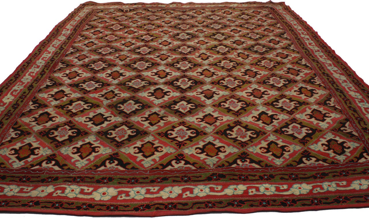 Modern Antique Afghanistan Area Rug with Jacobean Style, Antique Wool Felted Rug For Sale