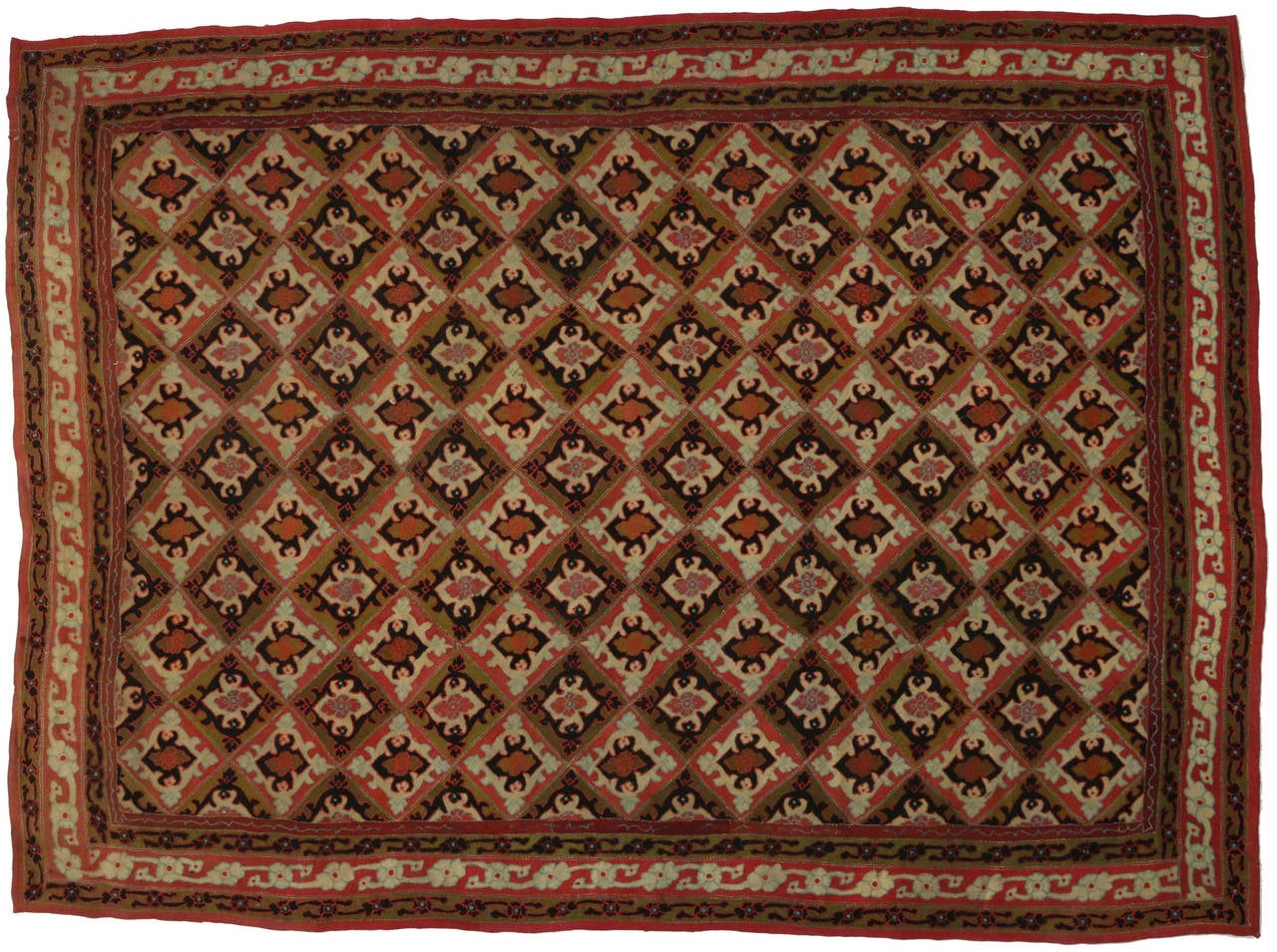 Hand-Woven Antique Afghanistan Area Rug with Jacobean Style, Antique Wool Felted Rug For Sale