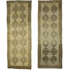 Pair Vintage Turkish Oushak Carpet Runners with Modern Design in Muted Colors