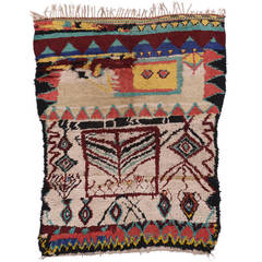 Vintage Azilal Moroccan Rug with Abstract Tribal Design