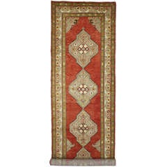Vintage Turkish Oushak Runner with Modern Style, Extra Long Hallway Runner