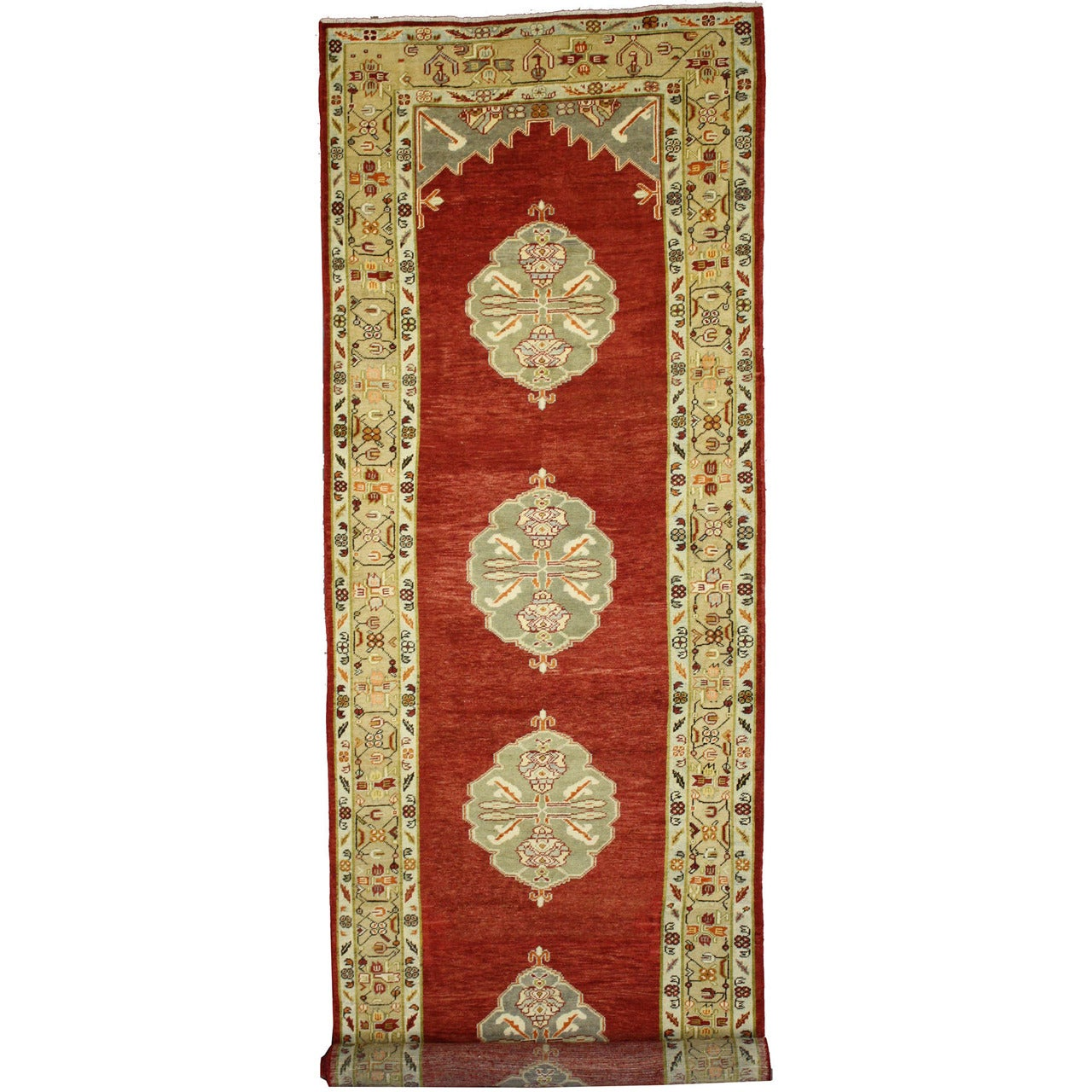 Vintage Turkish Oushak Runner with Jacobean Style, Extra-Long Hallway Runner
