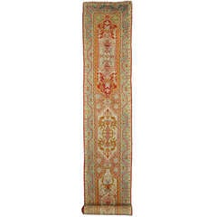 Antique Turkish Oushak Runner with Modern Design in Jewel-Tone Colors