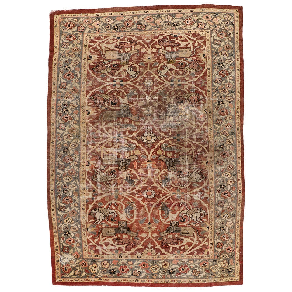 Distressed Antique Persian Sultanabad Rug With Hunting