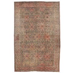 Distressed Antique Indian Agra Gallery Rug with Art Nouveau Style