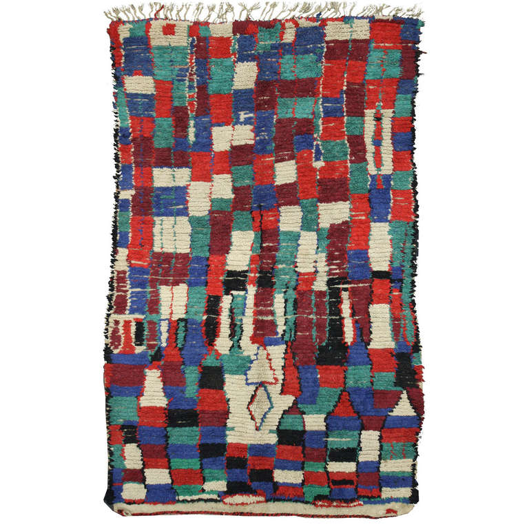 Mid-Century Modern Berber Moroccan Rug With Abstract