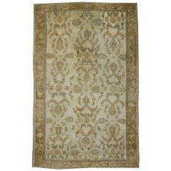 Vintage Turkish Oushak Rug with Monochromatic Mission Style and Neutral Colors