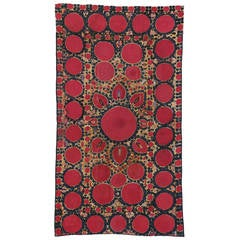 Late 19th Century Antique Embroidered Suzani Tapestry with Bohemian Design