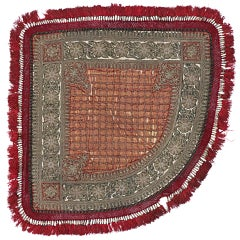 Antique Embroidered Rajasthan Three Sided Throw with Old World Style